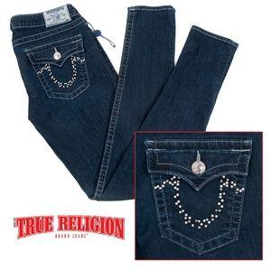 True Religion Flap Studded Pocket Skinny Jeans EUC